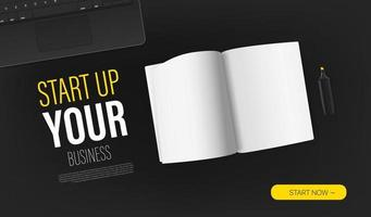Start up your business promo landing page template with paper book and sample text. Top view vector layout