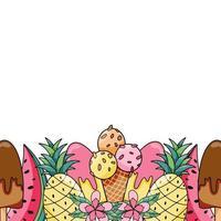 Plantilla de banner horizontal con frutas jugosas tropicales exóticas de verano orgánico fresco vector