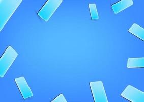 Blue wallpaper with modern smartphones. Social media message vector background. Copy space for a text
