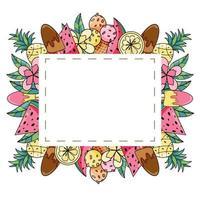 Marco cuadrado de verano con frutas exóticas, helado y coco dibujado a mano. vector