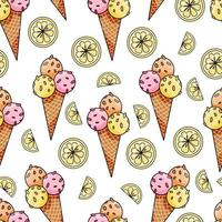 Vector seamless pattern with hand drawn ice cream and lemon slices