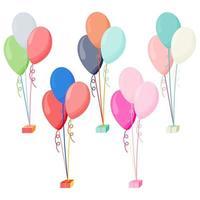 globos de helio brillante de color aislados sobre fondo transparente. decoraciones de fiesta para cumpleaños, aniversario, celebración vector