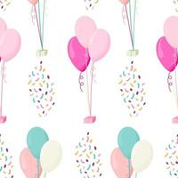 Vector seamless pattern with multicolor balloons
