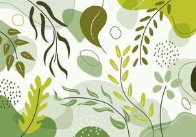 Hand drawn organic shapes green natural leaves, floral, line art pattern decoration element. vector