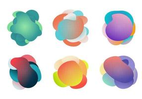 Badges set of fluid or liquid gradient shapes elements with halftone effect isolated on white background. vector