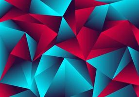 Abstract low polygon red blue gradient color neon light with a reflection on triangle background texture vector