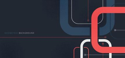 Banner web template design rounded squares geometric blue and red on black background vector