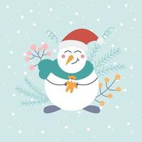 Cute snowman in a Santa hat with a toy on a light background with snowflakes and decorative elements. Christmas card, poster, children's illustration, winter. Vector flat style