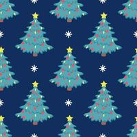 Vector seamless Christmas tree pattern with red balloons and a bright yellow star on top on a blue background with snowflakes