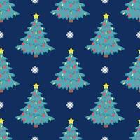 Vector patrón de árbol de Navidad sin fisuras con globos rojos y una estrella amarilla brillante en la parte superior sobre un fondo azul con copos de nieve