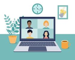 Video conference, online video communication with colleagues, friends, and students in a home or office environment. Remote work, training. Laptop screen with four people. Vector illustration in flat