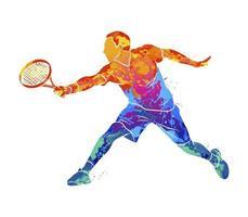 tenista abstracto con una raqueta de salpicaduras de acuarelas. ilustración vectorial de pinturas vector