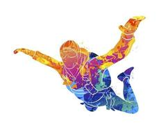 Abstract skydiver from splash of watercolors. Vector illustration of paints