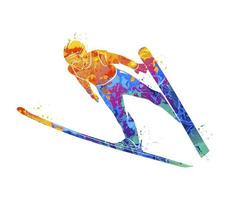Abstract jumping skier from splash of watercolors. Vector illustration of paints