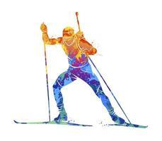 biatleta abstracto de salpicaduras de acuarelas. ilustración vectorial de pinturas vector