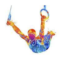 gimnasta abstracta en anillos de salpicaduras de acuarelas. ilustración vectorial de pinturas vector