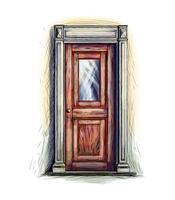 Elements of architecture, front door background, hand drawn old wooden door. Vector illustration