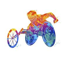 Abstract athlete on wheelchair racing from splash of watercolors. Vector illustration of paints
