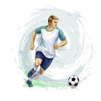 Soccer player with a ball from splash of watercolors. Vector illustration of paints