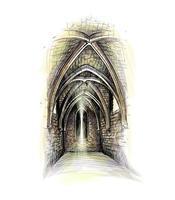 sala de arquitectura gótica. castillo interior. iglesia interior. ilustración vectorial vector