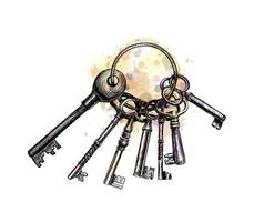 Bunch of old key from a splash of watercolor, hand drawn sketch. Vector illustration of paints