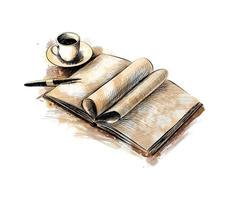 Cup of coffee and a book with a pen from a splash of watercolor, hand drawn sketch. Vector illustration of paints