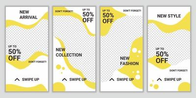 Set of fashion sale social media story post design template. Square puzzle layout for promotion. Social networking background. Vector illustration for website, poster, flyer, web design, web ad