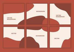 Set collection of minimalist social media templates. Backgrounds for post feeds. Square abstract puzzle backgrounds with maroon colors. Suitable for social media post, flyer, web. Vector illustration