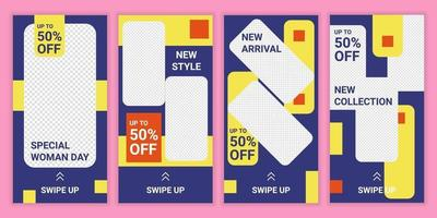 conjunto de 4 diseños de historias de redes sociales con fondo de colores azul, amarillo y naranja. paquete de plantillas vectoriales de historias editables para la colección de moda. descuento día especial de la mujer. historia multicolor vector
