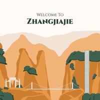 bienvenido a china vector plano. conjunto de monumentos famosos como el parque forestal nacional de zhangjiajie, el puente de cristal, el ascensor bailong, etc., famosa atracción natural de asia ilustración minimalista