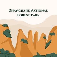 Vista panorámica del parque forestal nacional de Zhangjiajie. UNESCO sitio de Patrimonio Mundial. naturaleza majestuosa. atracción natural famosa de asia. vector ilustración plana. banner web de agencia de viajes con espacio de texto