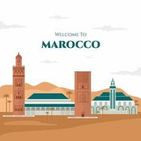Colorful welcome to Morocco banner design. Morocco travel destination in Africa with city landmark buildings. Sightseeing tour to Morocco. Flat cartoon vector illustration