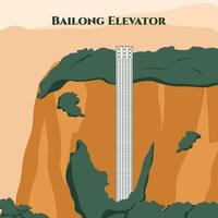 The Bailong Elevator. A glass elevator built onto the side of a huge cliff in the Wulingyuan area of Zhangjiajie. World famous landmark in cartoon flat icon. Definitely a must not miss item. vector
