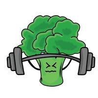 Ilustración de diseño de plantilla de vector de personaje de brócoli lindo de levantamiento de pesas