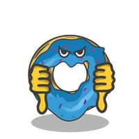 Two thumbs down cute donuts character vector template design illustration