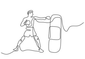 One continuous line drawing of young sporty man boxer hit the punching bag. Competitive combat sport concept. Vector illustration for boxing match promotion poster with minimalist design