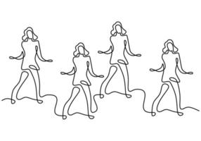 Continuous line drawing of group of girls in zumba dance. Four energetic young womens practice dance isolated on white background. Dance sport and healthy lifestyle concept. Vector illustration