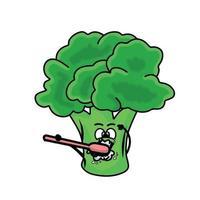 Ilustración de diseño de plantilla de vector de personaje de brócoli lindo cepillado de dientes