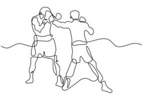 dibujo continuo de una línea de dos hombres jugando boxeo en el área del ring. Dos boxeadores profesionales luchan entre sí en un torneo aislado sobre fondo blanco estilo minimalista. ilustración vectorial vector