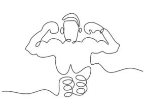 One continuous line drawing of young sporty woman boxer pose as a winner. A professional boxer win in boxing matches. Competitive combat sport concept isolated on white background. Minimalism design vector