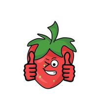 Two thumbs up cute character strawberry vector template design illustration