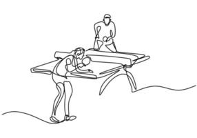 Continuous line drawing of young happy man table tennis player hit the ball. Two athlete playing table tennis isolated on white background. Competition and sport exercise concept. Vector illustration