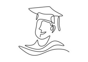 Continuous one line art drawing of happy graduation student wearing graduation hat. College, school pupil celebrating graduation theme isolated on white background. Vector illustration