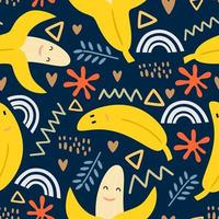 Vector seamless pattern of smiling fresh yellow bananas on a gentle navy blue background. Happy cute banana for printing on textiles, paper, wallpaper, packaging. Decorative illustration