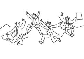 One line drawing of young happy graduate male and female college student jumping hand drawn continuous line art minimalism style on white background. Celebration concept. Vector sketch illustration