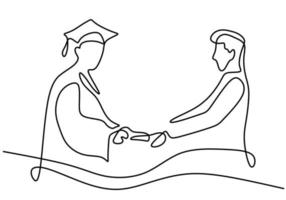 One single line drawing of a student graduate with lecturer isolated on white background. A lecturer gives diplomas to the students and shakes hands. Education graduation concept. Vector illustration