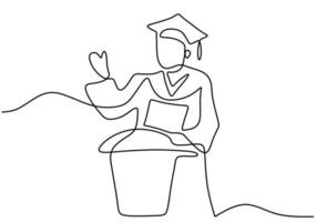 Continuous line art drawing of graduation student made a speech. Young man student standing and speech to audience at the graduation ceremony drawn by hand picture silhouette. Vector illustration
