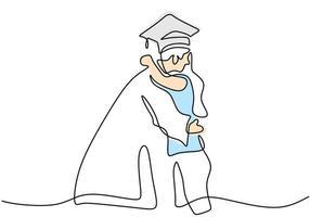 dibujo de línea continua de estudiantes de graduación con su amigo se abrazan. Celebración ceremonia maestría academia posgrado diseño boceto dibujo de esquema ilustración vectorial vector