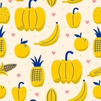 Hand drawn fresh yellow fruit seamless pattern. Tropical fruits includes banana, apple, pineapple, orange, lemon etc. Decorative sketch, good for printing. Vector illustration on white background
