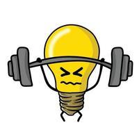 Ilustración de diseño de plantilla de vector de personaje de bombilla linda de levantamiento de pesas